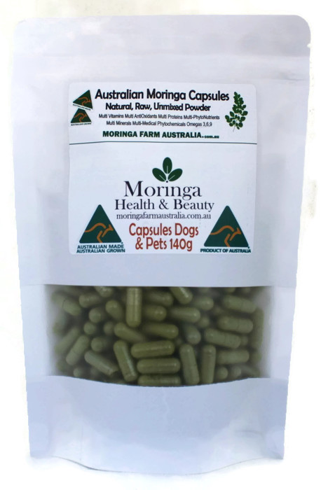 AUSTRALIAN Moringa - DOG CAPSULES (animals) 140G - Anti-Inflammatory, Nutrients. apprx 270-300