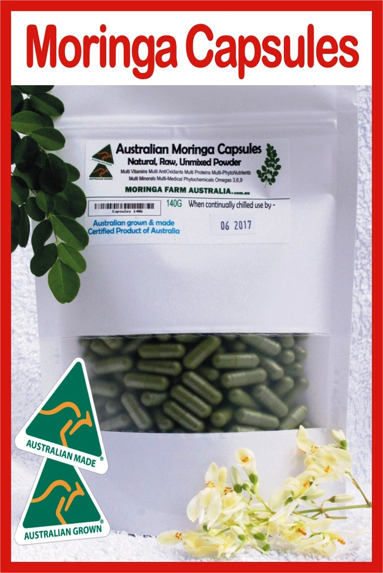 Moringa in VEG. CAPSULES 140G apprx 265-300 Made To Order. Delayed harvesting to post can be 1.5 to 3.5 weeks