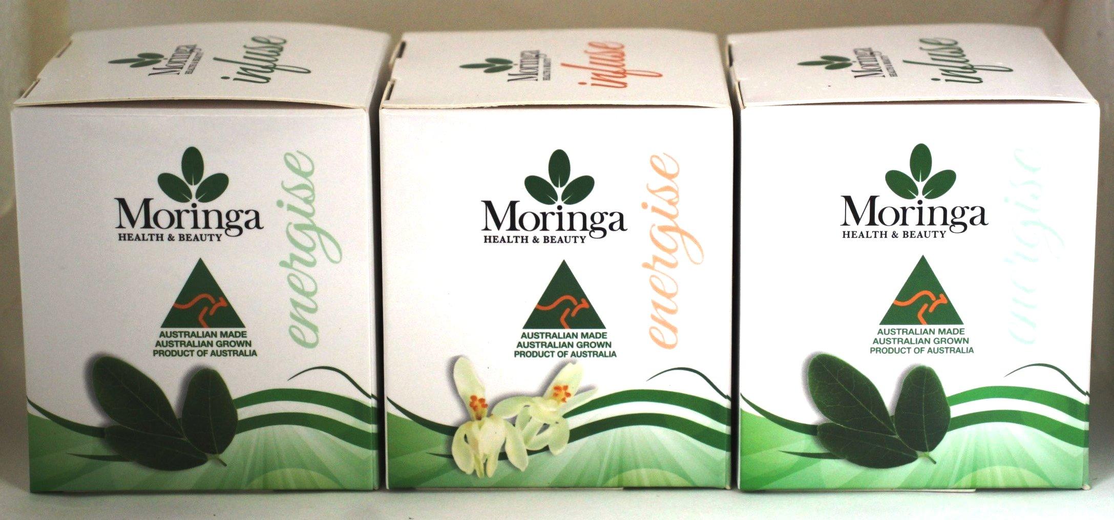 Moringa 3 pack Tea Bags - Moringa FLOWERS+Charmomile plus Moringa LEAF+Ginger & Lemon plus Moringa LEAF+Peppermint - 36 bags