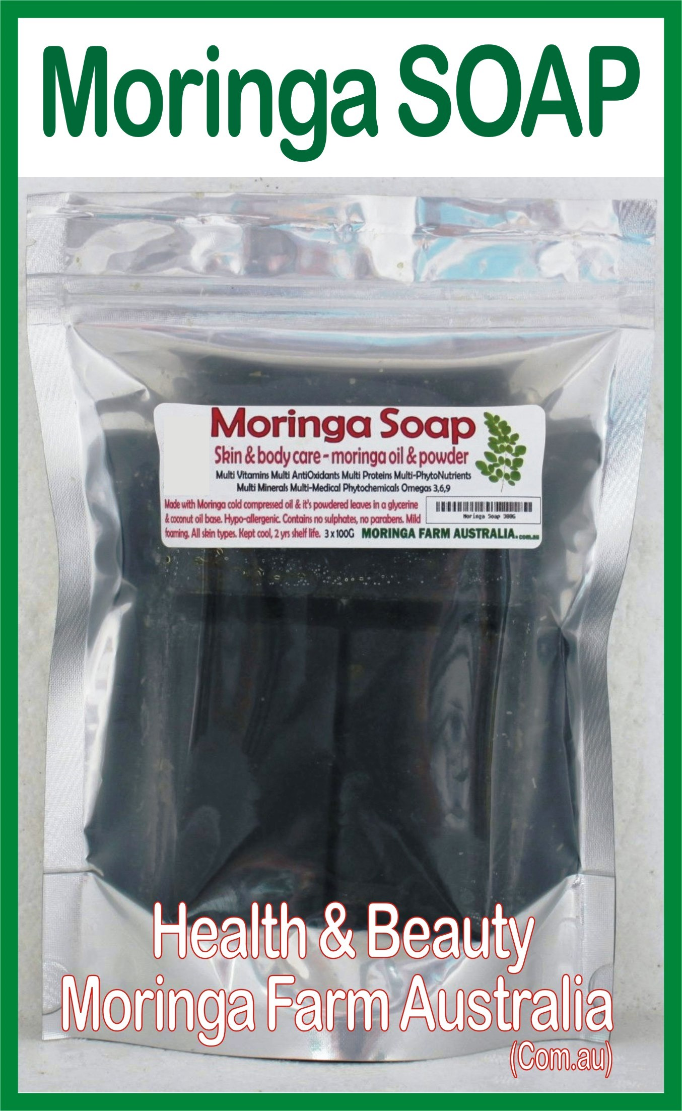 Moringa SOAP 3 X 100G - Moringa seed oil & ground leaf prep.