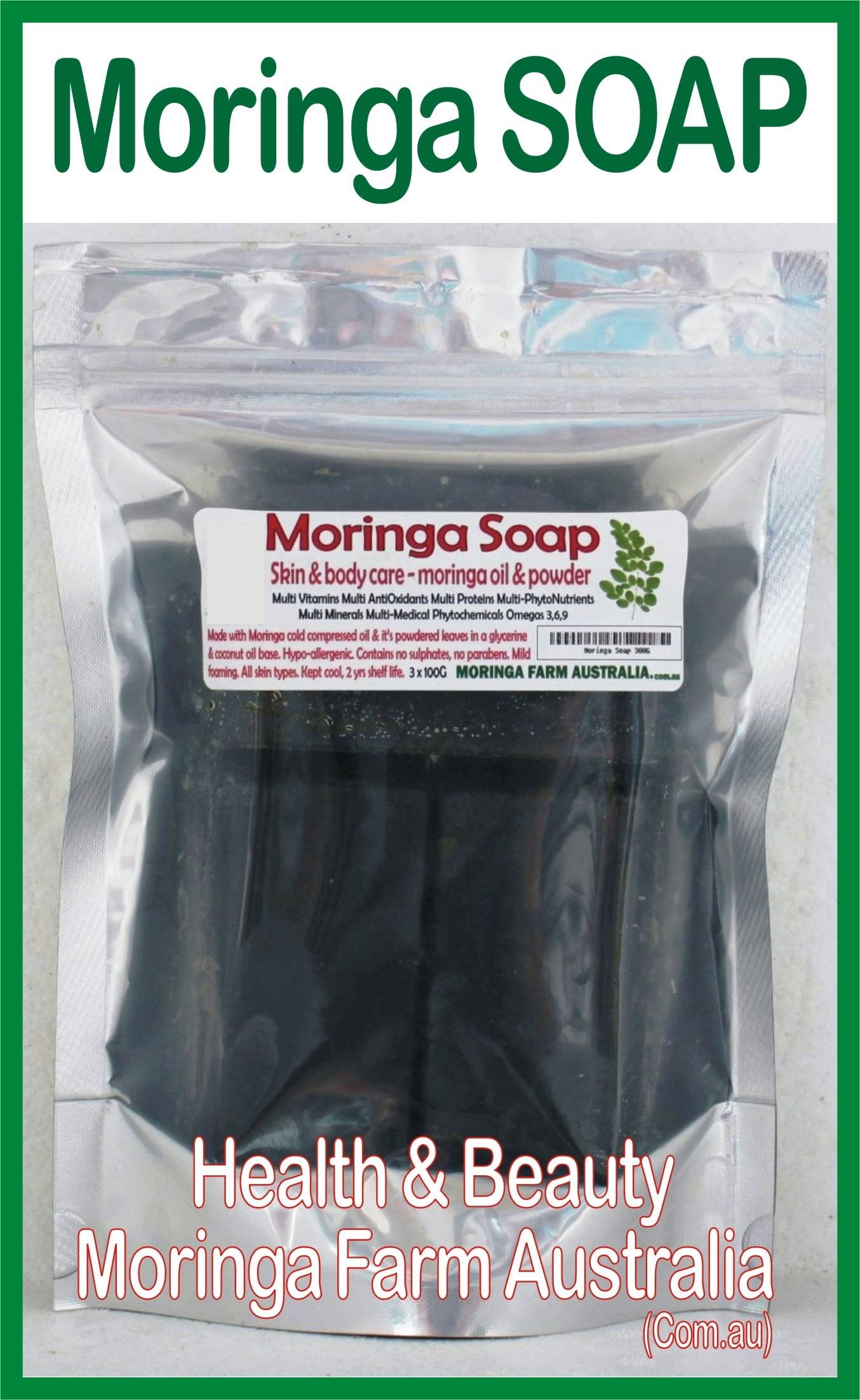 AUSTRALIAN Moringa SOAP 3 X 100G - Moringa seed oil & ground leaf prep.