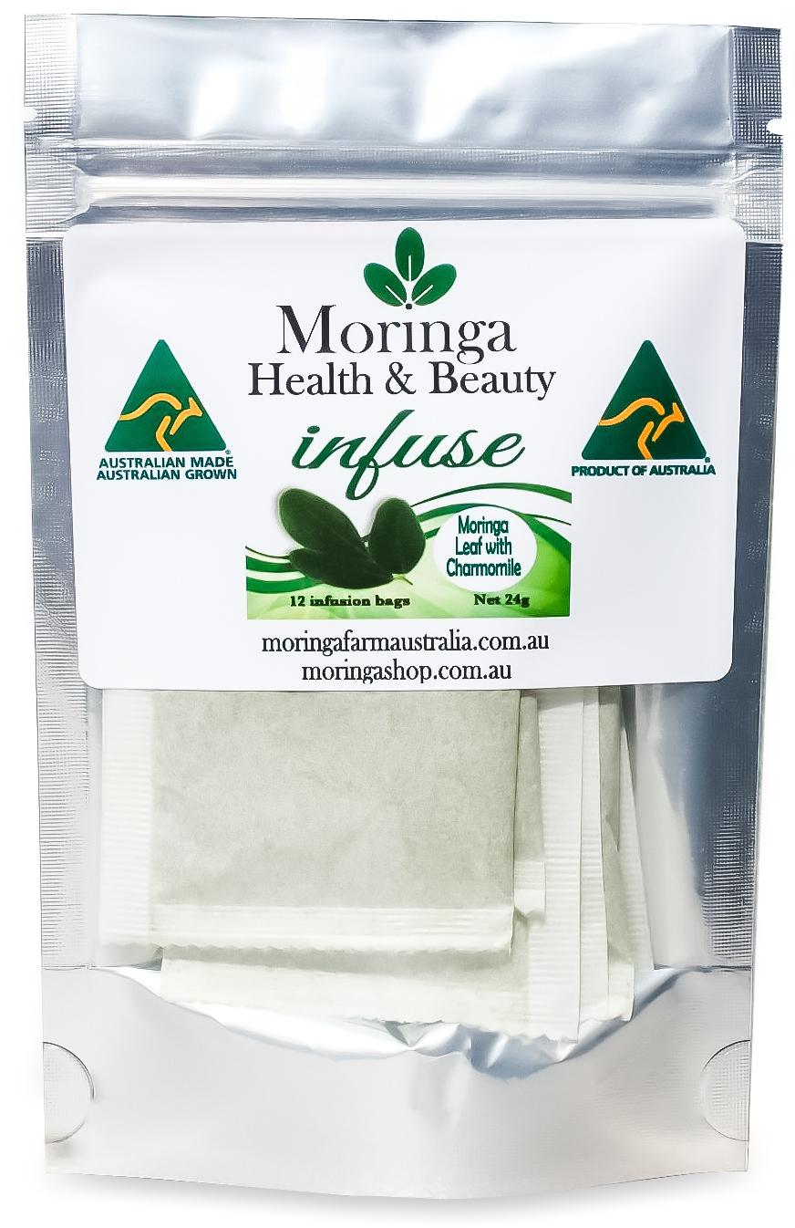 AUSTRALIAN Moringa TEA BAGS. Moringa LEAF with Charmomile X 12 Bags